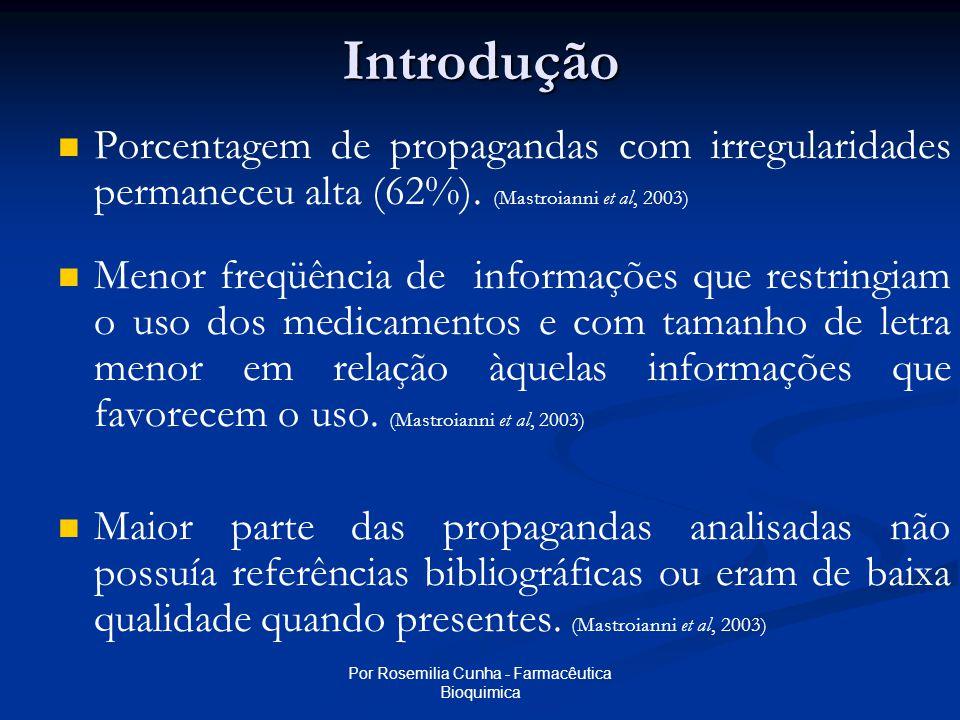 Por Rosemilia Cunha - Farmacêutica BioquimicaIntrodução   Porcentagem de propagandas com irregularidades permaneceu alta (62%).
