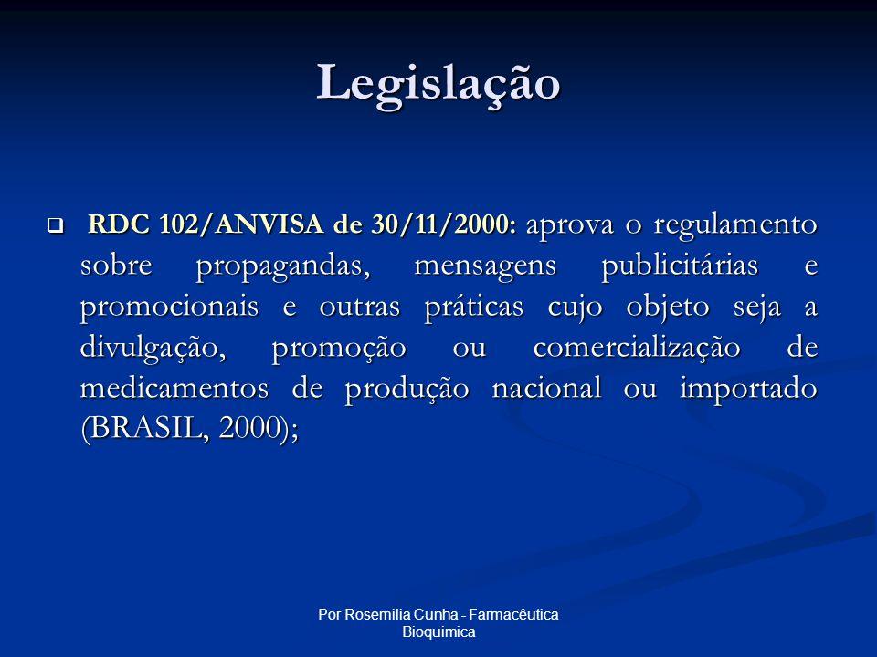 Por Rosemilia Cunha - Farmacêutica Bioquimica Projeto de Monitoração de Propaganda de Produtos Sujeitos a Vigilância Sanitária
