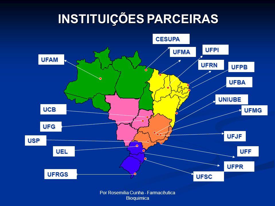 Por Rosemilia Cunha - Farmacêutica Bioquimica UFSC UFAM CESUPA UFMA UFG USP UFPI UFPB UFRN UEL UFRGS UFBA UNIUBE UFJF UFF UFPR UCB UFMG INSTITUIÇÕES PARCEIRAS