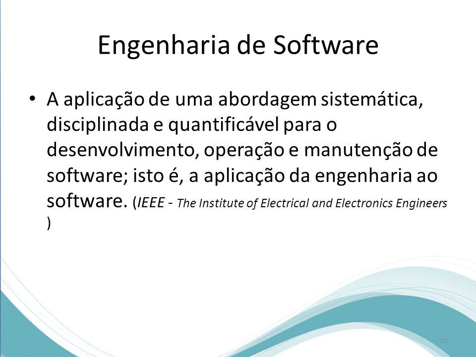 Engenharia de Software • A aplicação de uma abordagem sistemática, disciplinada e quantificável para o desenvolvimento, operação e manutenção de software; isto é, a aplicação da engenharia ao software.