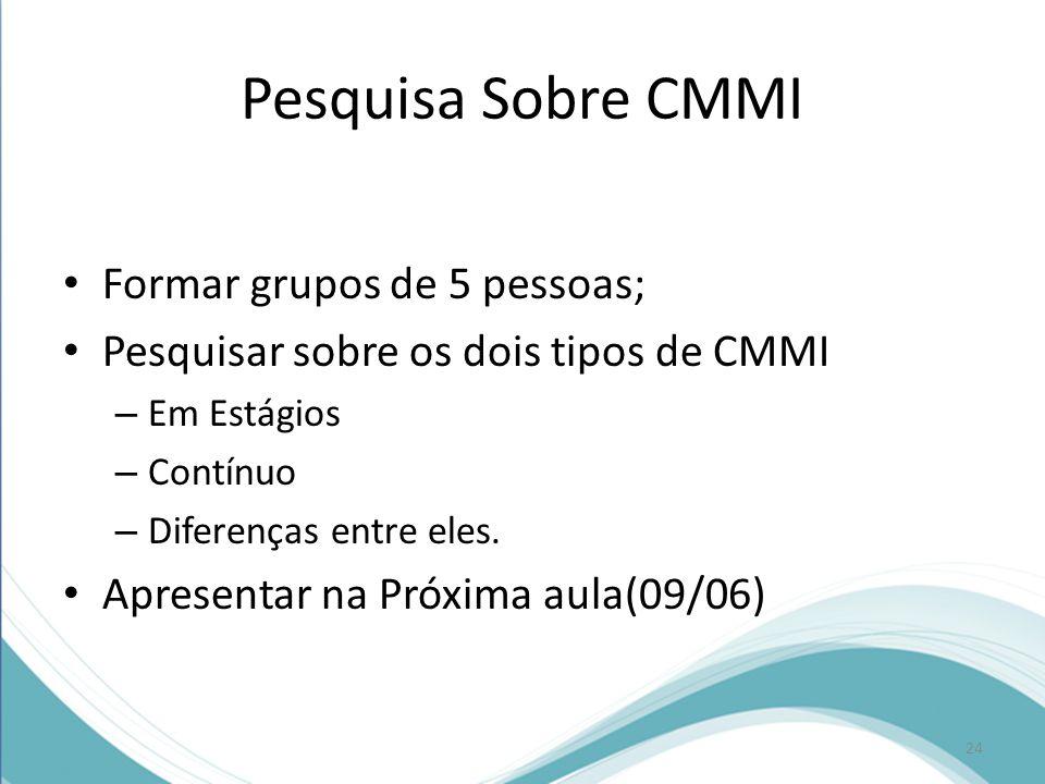 Pesquisa Sobre CMMI • Formar grupos de 5 pessoas; • Pesquisar sobre os dois tipos de CMMI – Em Estágios – Contínuo – Diferenças entre eles.