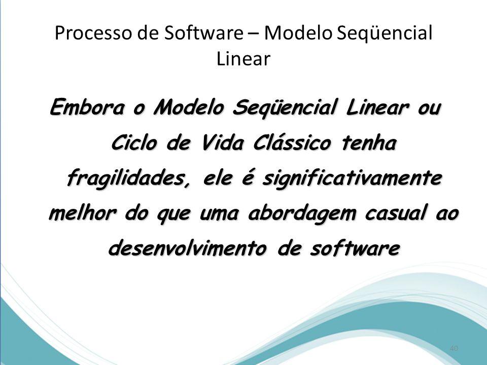 Processo de Software – Modelo Seqüencial Linear Embora o Modelo Seqüencial Linear ou Ciclo de Vida Clássico tenha fragilidades, ele é significativamente melhor do que uma abordagem casual ao desenvolvimento de software 40