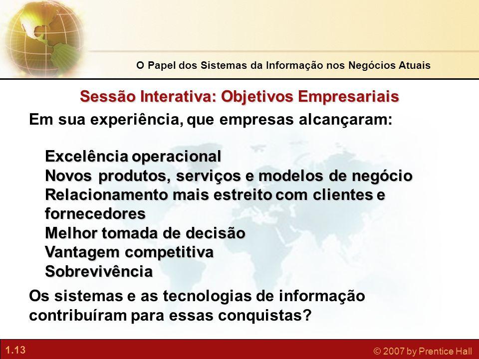 1.13 © 2007 by Prentice Hall Sessão Interativa: Objetivos Empresariais Em sua experiência, que empresas alcançaram: Excelência operacional Novos produ