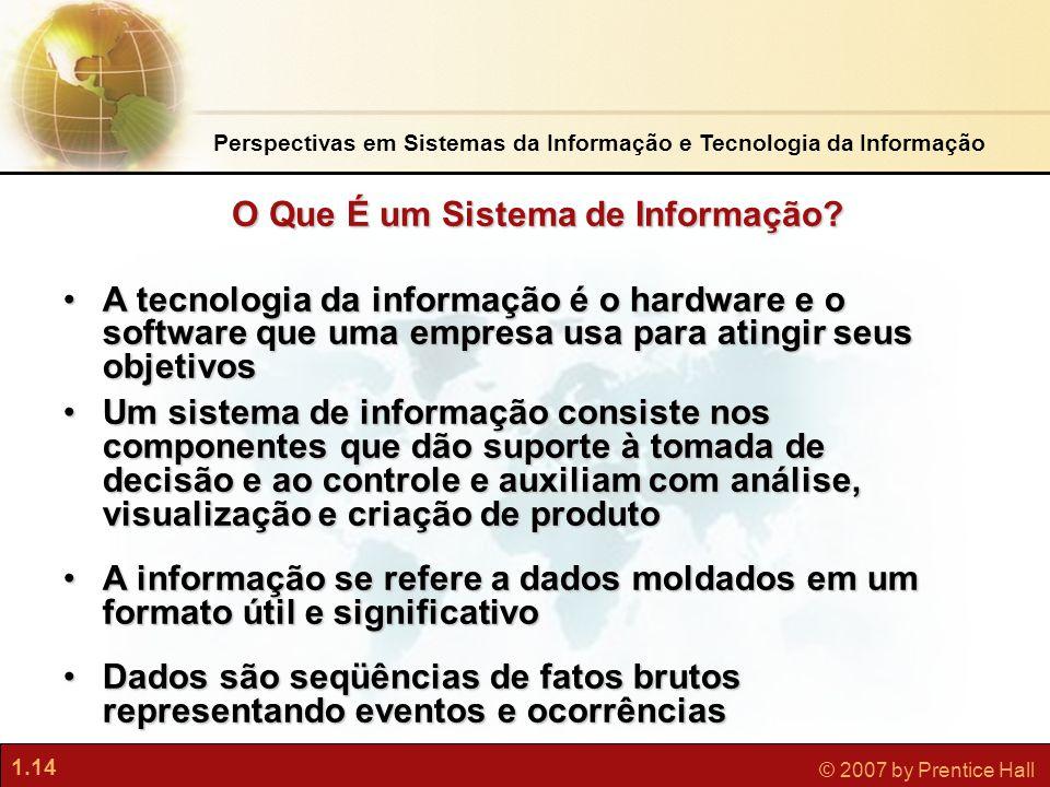 1.14 © 2007 by Prentice Hall Perspectivas em Sistemas da Informação e Tecnologia da Informação •A tecnologia da informação é o hardware e o software q