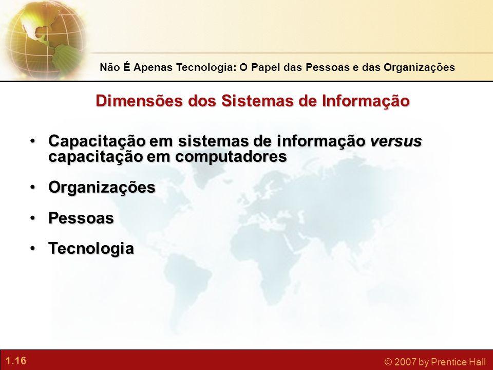 1.16 © 2007 by Prentice Hall Não É Apenas Tecnologia: O Papel das Pessoas e das Organizações •Capacitação em sistemas de informação versus capacitação