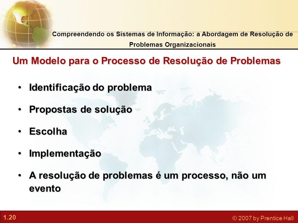 1.20 © 2007 by Prentice Hall Compreendendo os Sistemas de Informação: a Abordagem de Resolução de Problemas Organizacionais •Identificação do problema