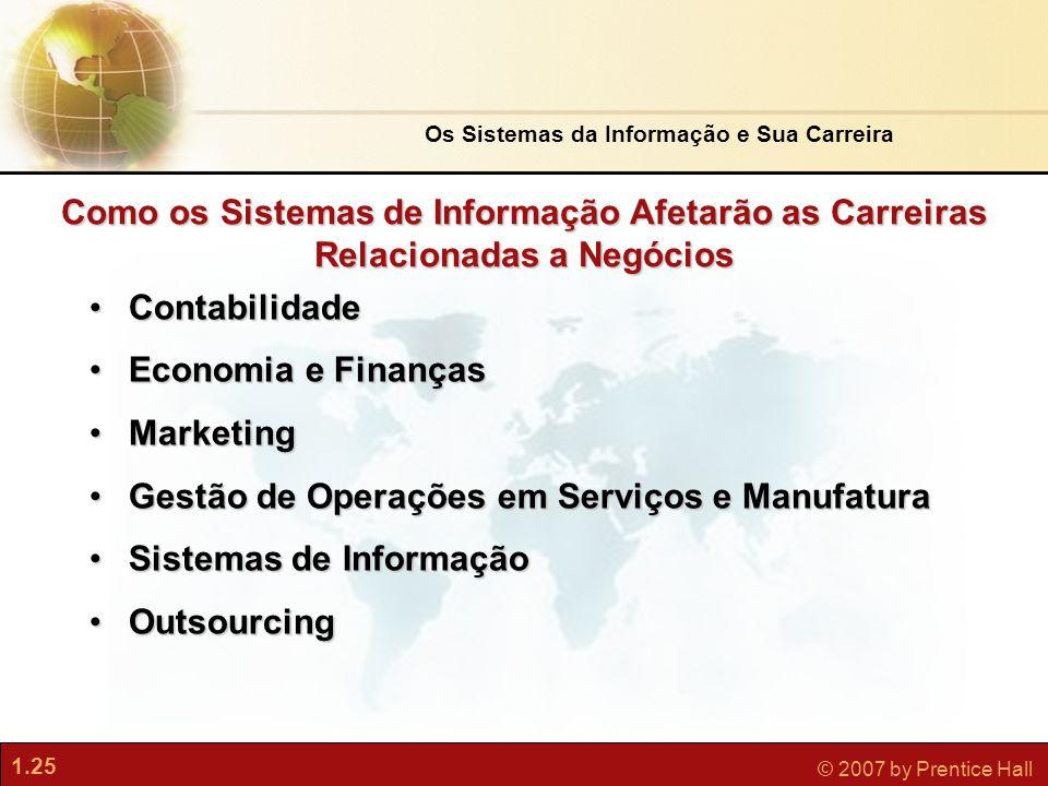1.25 © 2007 by Prentice Hall •Contabilidade •Economia e Finanças •Marketing •Gestão de Operações em Serviços e Manufatura •Sistemas de Informação •Out