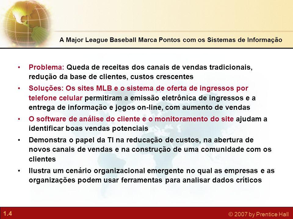 1.4 © 2007 by Prentice Hall A Major League Baseball Marca Pontos com os Sistemas de Informação •Problema: Queda de receitas dos canais de vendas tradi