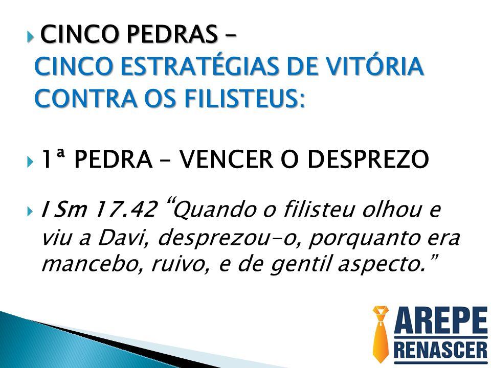  CINCO PEDRAS – CINCO ESTRATÉGIAS DE VITÓRIA CINCO ESTRATÉGIAS DE VITÓRIA CONTRA OS FILISTEUS: CONTRA OS FILISTEUS:  1ª PEDRA – VENCER O DESPREZO 