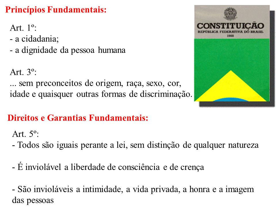 Princípios Fundamentais: Art. 1º: - a cidadania; - a dignidade da pessoa humana Art. 3º:... sem preconceitos de origem, raça, sexo, cor, idade e quais