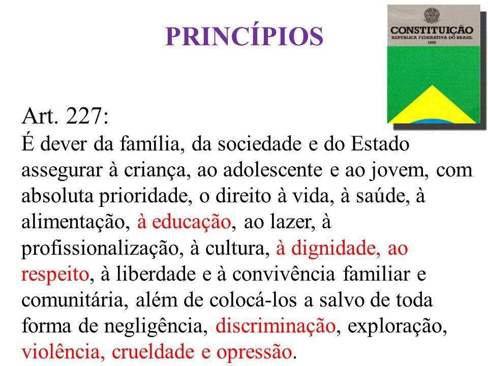 Princípios Fundamentais Art. 227: É dever da família, da sociedade e do Estado assegurar à criança, ao adolescente e ao jovem, com absoluta prioridade