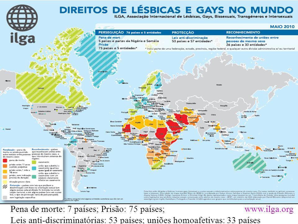 Pena de morte: 7 países; Prisão: 75 países; www.ilga.org Leis anti-discriminatórias: 53 países; uniões homoafetivas: 33 países
