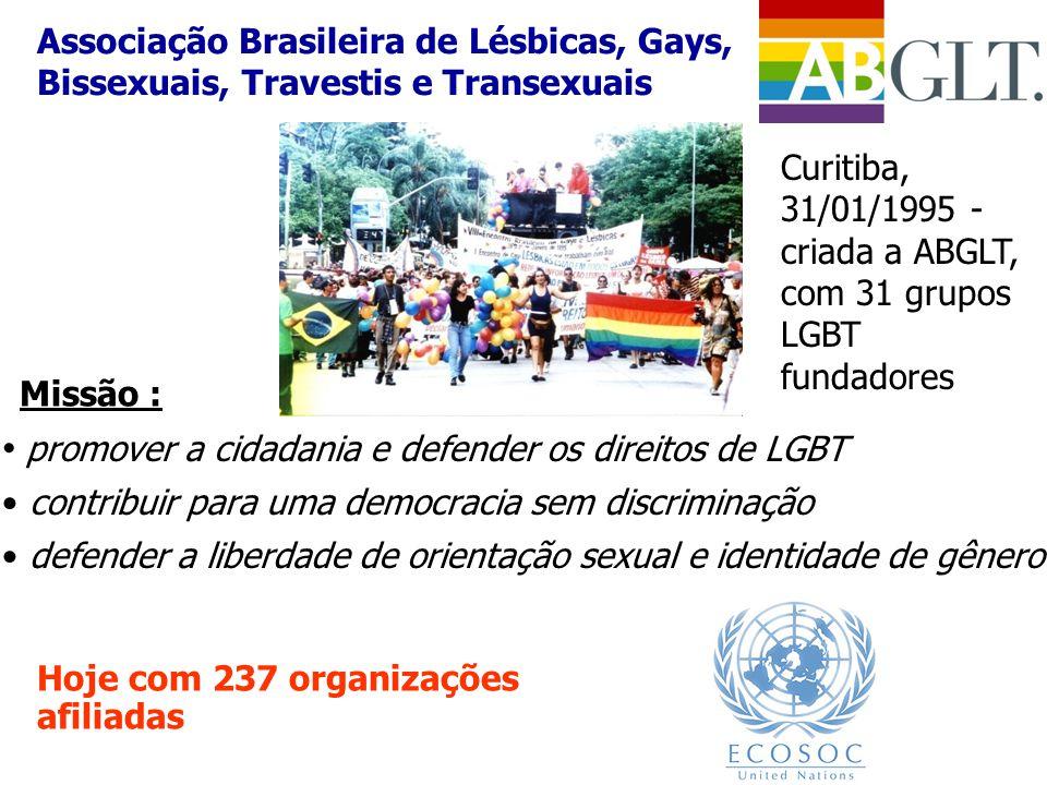 • promover a cidadania e defender os direitos de LGBT • contribuir para uma democracia sem discriminação • defender a liberdade de orientação sexual e
