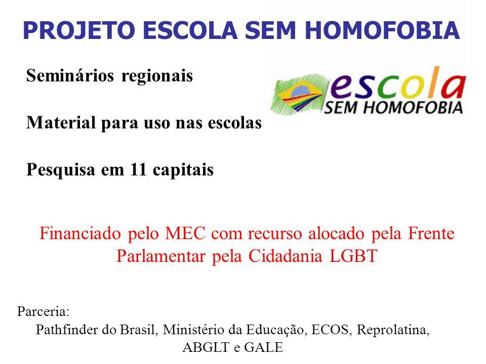 Seminários regionais Material para uso nas escolas Pesquisa em 11 capitais Financiado pelo MEC com recurso alocado pela Frente Parlamentar pela Cidada