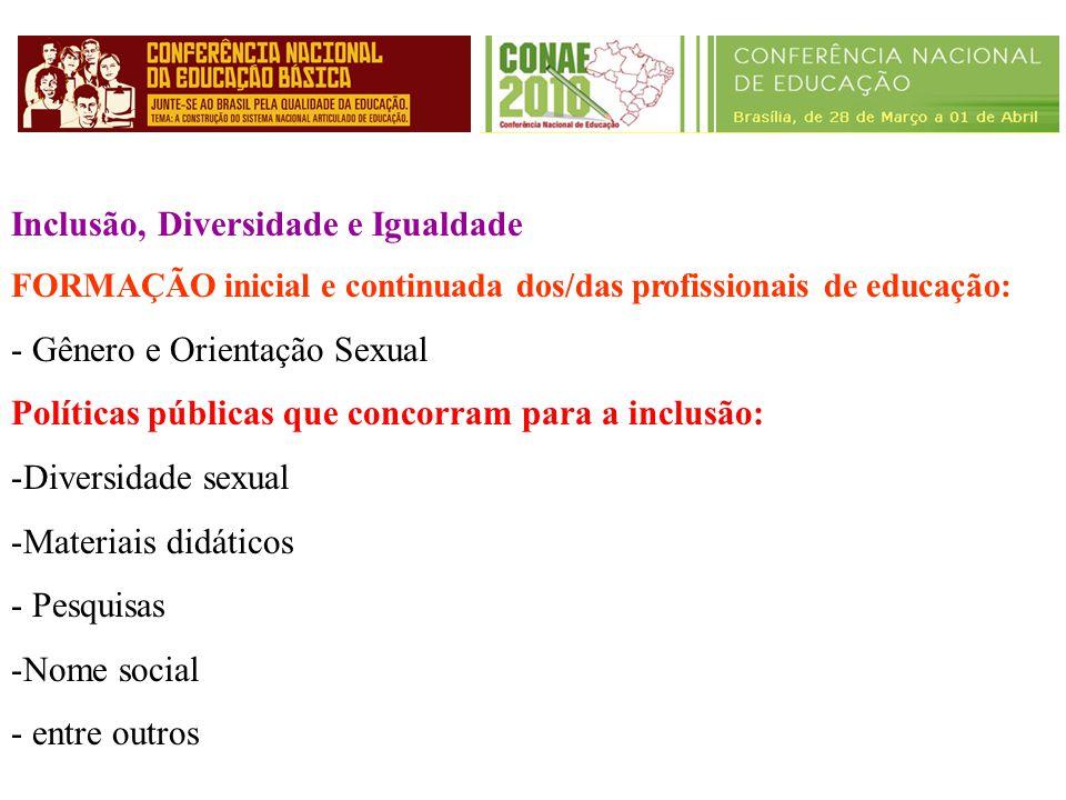 Inclusão, Diversidade e Igualdade FORMAÇÃO inicial e continuada dos/das profissionais de educação: - Gênero e Orientação Sexual Políticas públicas que