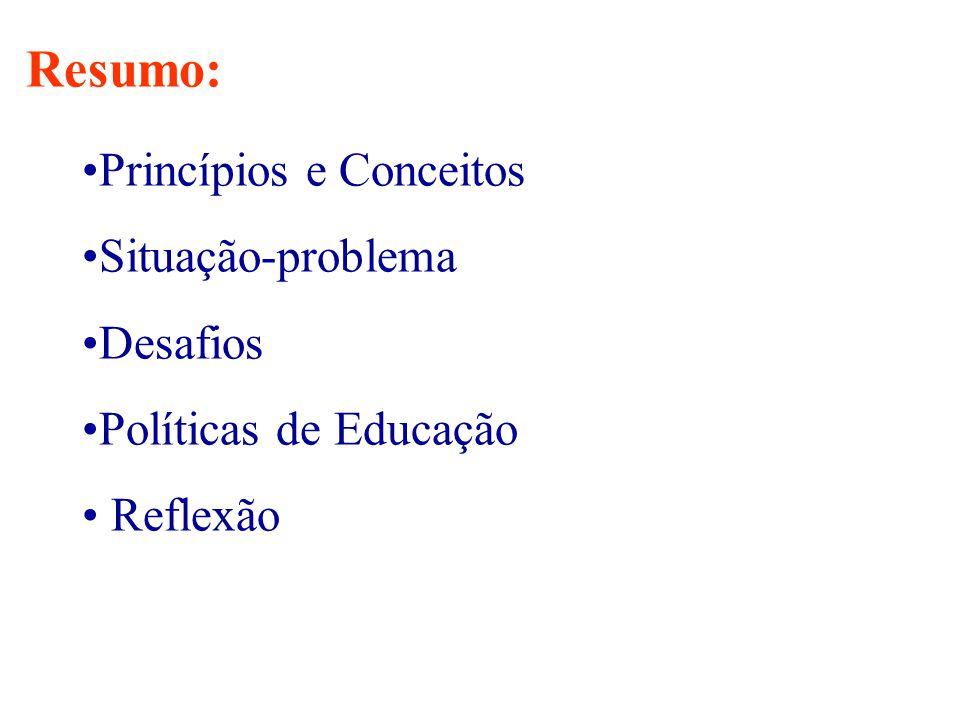 •Princípios e Conceitos •Situação-problema •Desafios •Políticas de Educação • Reflexão Resumo: