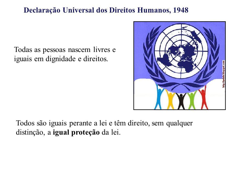 Declaração Universal dos Direitos Humanos, 1948 Todas as pessoas nascem livres e iguais em dignidade e direitos. Todos são iguais perante a lei e têm