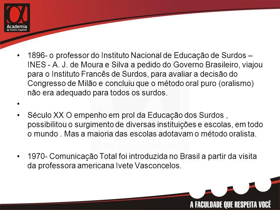 •1896- o professor do Instituto Nacional de Educação de Surdos – INES - A. J. de Moura e Silva a pedido do Governo Brasileiro, viajou para o Instituto