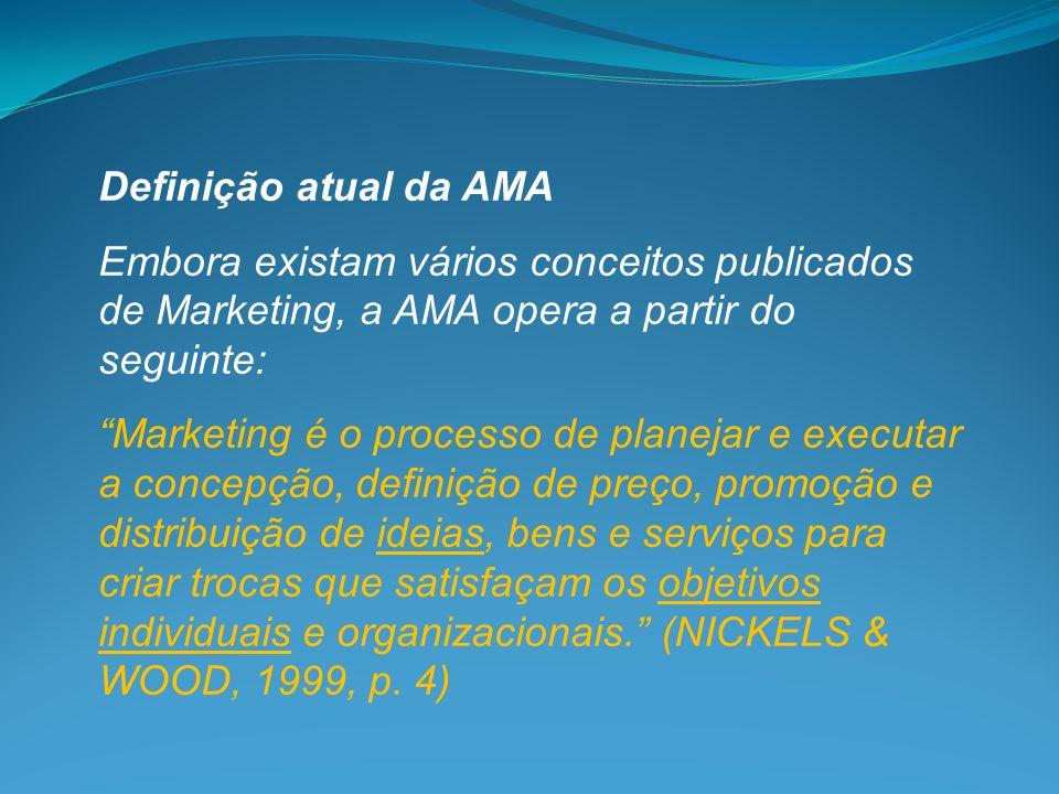 """Definição atual da AMA Embora existam vários conceitos publicados de Marketing, a AMA opera a partir do seguinte: """"Marketing é o processo de planejar"""