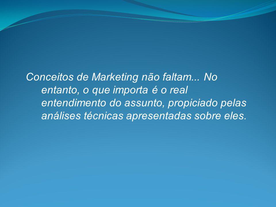 Conceitos de Marketing não faltam... No entanto, o que importa é o real entendimento do assunto, propiciado pelas análises técnicas apresentadas sobre