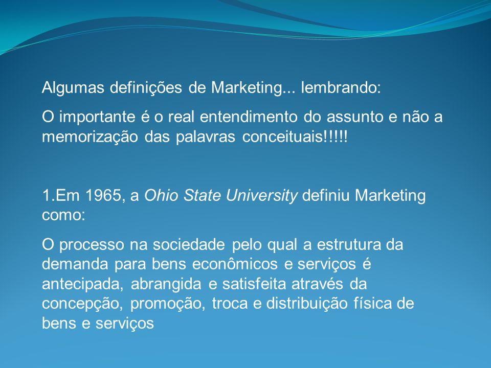 Algumas definições de Marketing... lembrando: O importante é o real entendimento do assunto e não a memorização das palavras conceituais!!!!! 1.Em 196