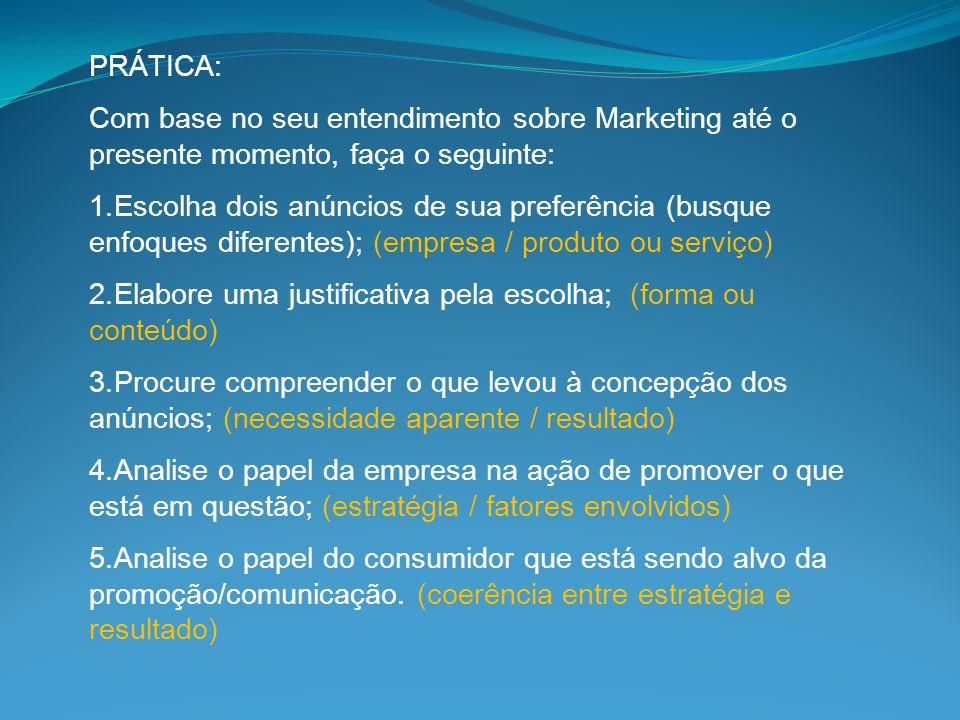 PRÁTICA: Com base no seu entendimento sobre Marketing até o presente momento, faça o seguinte: 1.Escolha dois anúncios de sua preferência (busque enfo