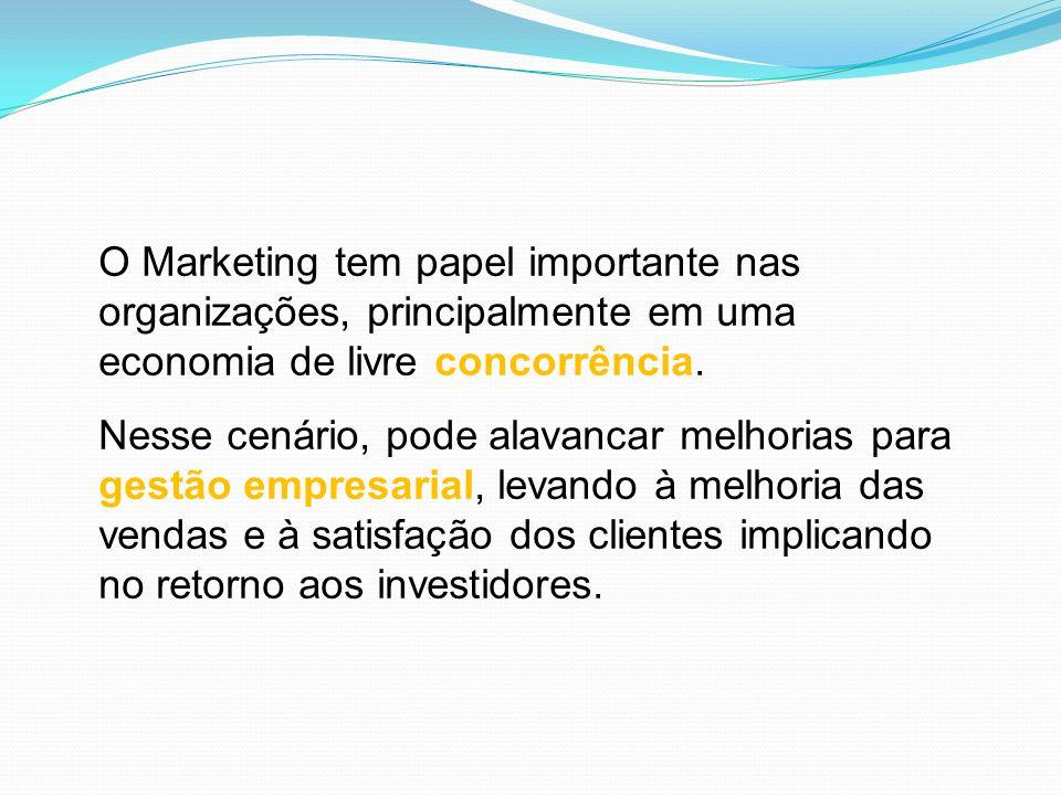 O Marketing tem papel importante nas organizações, principalmente em uma economia de livre concorrência. Nesse cenário, pode alavancar melhorias para
