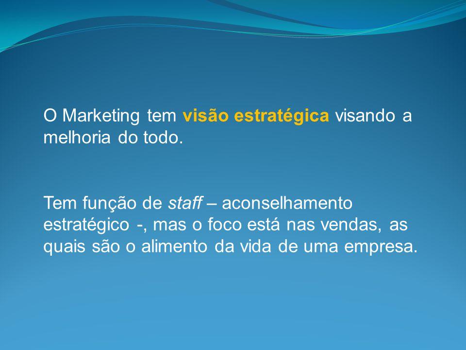 O Marketing tem visão estratégica visando a melhoria do todo. Tem função de staff – aconselhamento estratégico -, mas o foco está nas vendas, as quais
