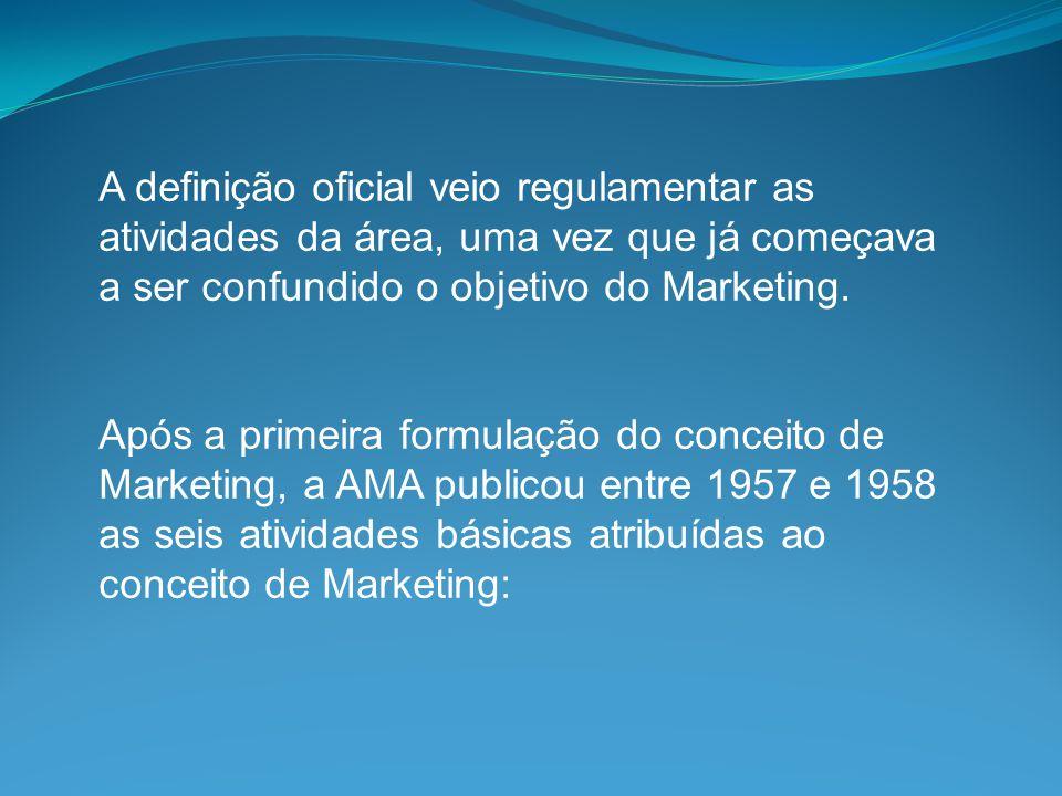 A definição oficial veio regulamentar as atividades da área, uma vez que já começava a ser confundido o objetivo do Marketing. Após a primeira formula