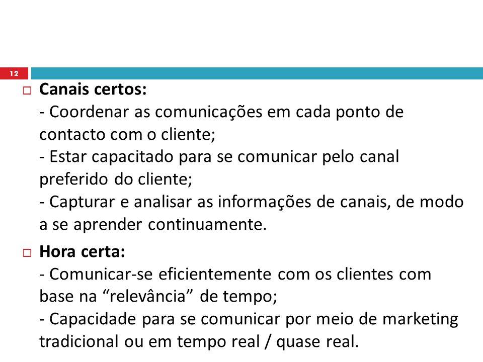 Canais certos: - Coordenar as comunicações em cada ponto de contacto com o cliente; - Estar capacitado para se comunicar pelo canal preferido do cliente; - Capturar e analisar as informações de canais, de modo a se aprender continuamente.