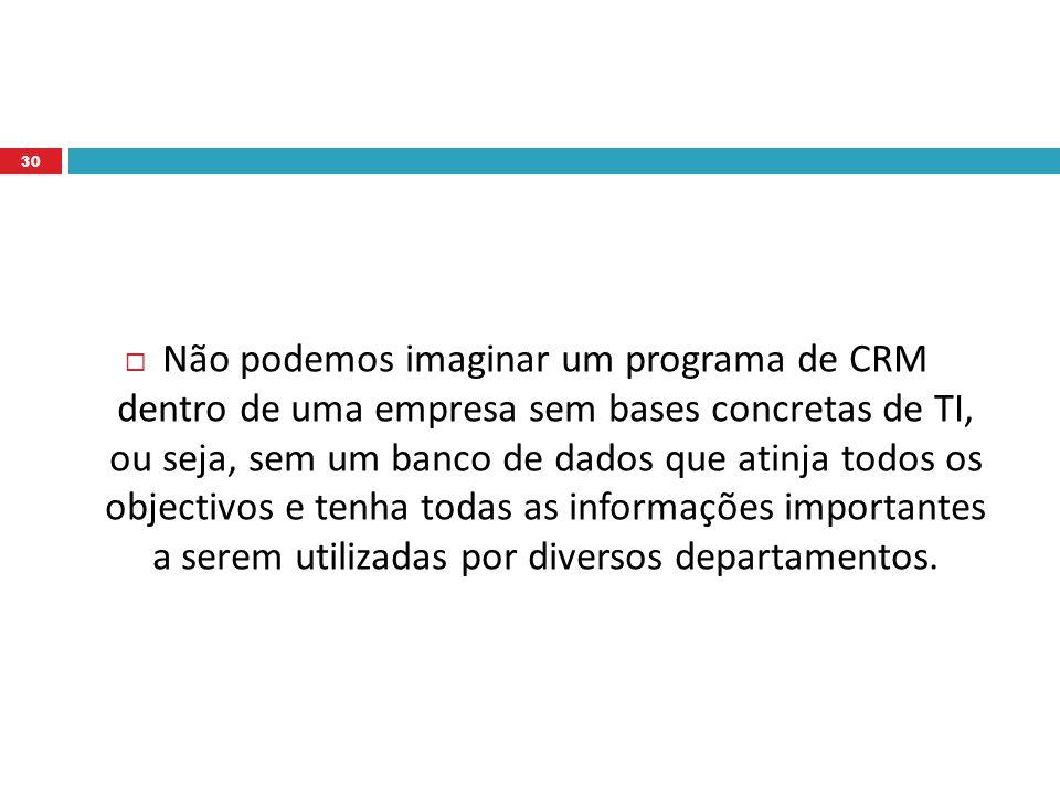  Não podemos imaginar um programa de CRM dentro de uma empresa sem bases concretas de TI, ou seja, sem um banco de dados que atinja todos os objectivos e tenha todas as informações importantes a serem utilizadas por diversos departamentos.