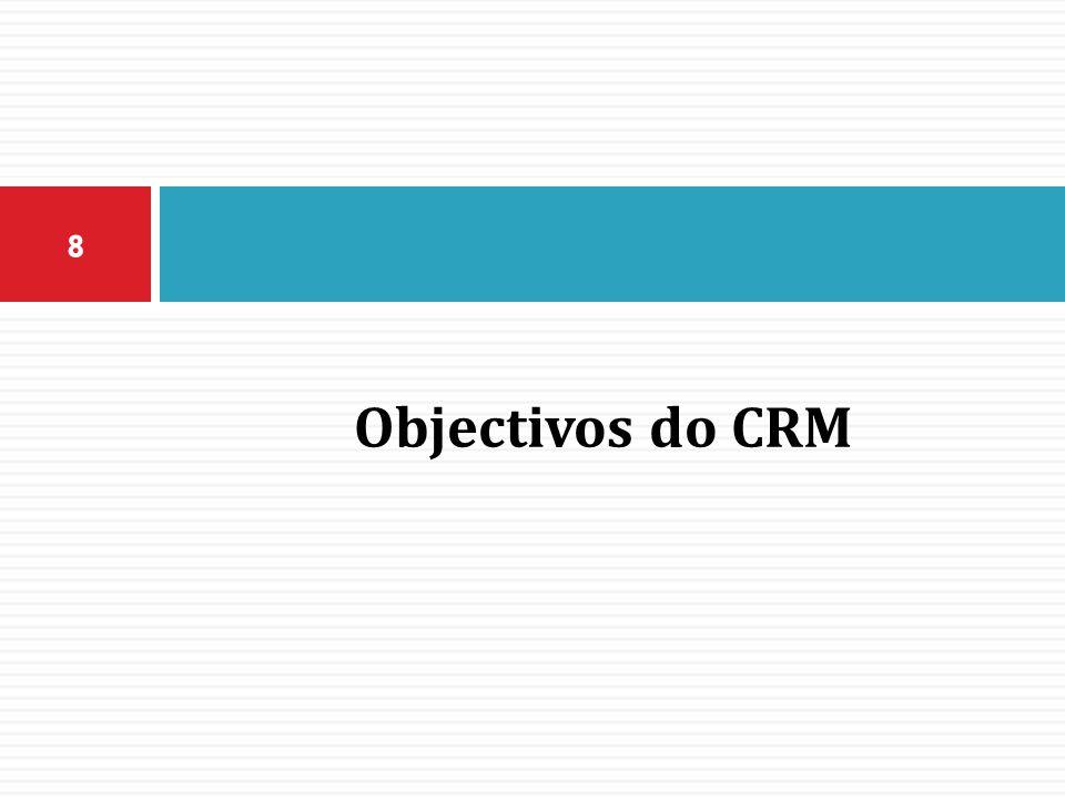  Diversos são os objectivos que envolvem uma empresa a fazer um planeamento de CRM e colocar um programa em prática.