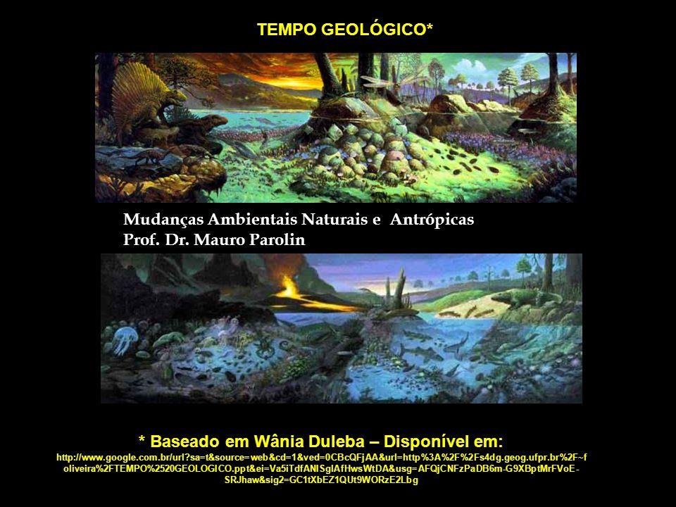TEMPO GEOLÓGICO* * Baseado em Wânia Duleba – Disponível em: http://www.google.com.br/url?sa=t&source=web&cd=1&ved=0CBcQFjAA&url=http%3A%2F%2Fs4dg.geog.ufpr.br%2F~f oliveira%2FTEMPO%2520GEOLOGICO.ppt&ei=Va5iTdfANISglAfHwsWtDA&usg=AFQjCNFzPaDB6m-G9XBptMrFVoE- SRJhaw&sig2=GC1tXbEZ1QUt9WORzE2Lbg Mudanças Ambientais Naturais e Antrópicas Prof.