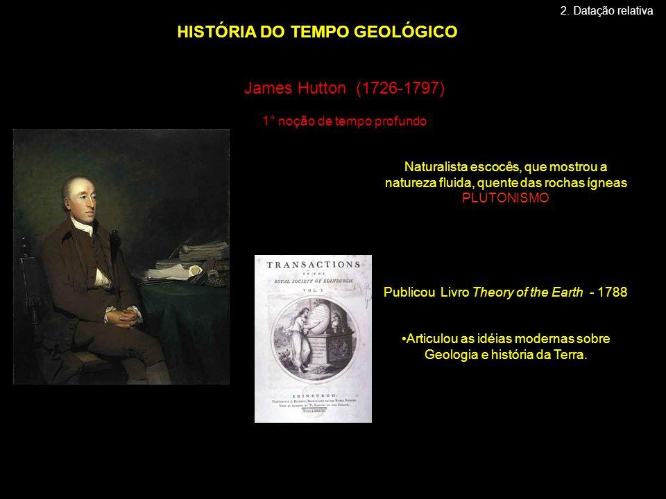 James Hutton (1726-1797) 1° noção de tempo profundo HISTÓRIA DO TEMPO GEOLÓGICO Naturalista escocês, que mostrou a natureza fluida, quente das rochas ígneas PLUTONISMO Publicou Livro Theory of the Earth - 1788 •Articulou as idéias modernas sobre Geologia e história da Terra.