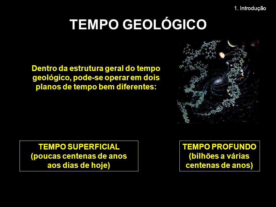Dentro da estrutura geral do tempo geológico, pode-se operar em dois planos de tempo bem diferentes: TEMPO PROFUNDO (bilhões a várias centenas de anos) TEMPO SUPERFICIAL (poucas centenas de anos aos dias de hoje) TEMPO GEOLÓGICO 1.