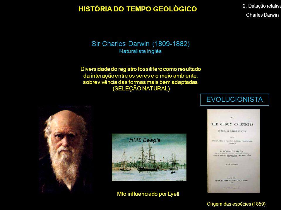Origem das espécies (1859) HISTÓRIA DO TEMPO GEOLÓGICO Charles Darwin Sir Charles Darwin (1809-1882) Naturalista inglês HMS Beagle 2. Datação relativa