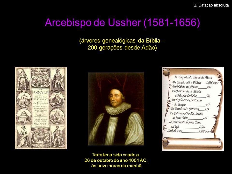 Arcebispo de Ussher (1581-1656) (árvores genealógicas da Bíblia – 200 gerações desde Adão) 2. Datação absoluta Terra teria sido criada a 26 de outubro