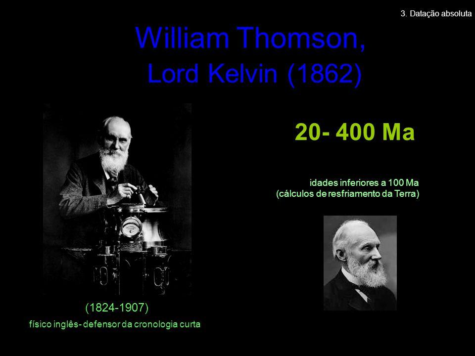 William Thomson, Lord Kelvin (1862) (1824-1907) Cooling of Molten Ball 20- 400 Ma idades inferiores a 100 Ma (cálculos de resfriamento da Terra) físic