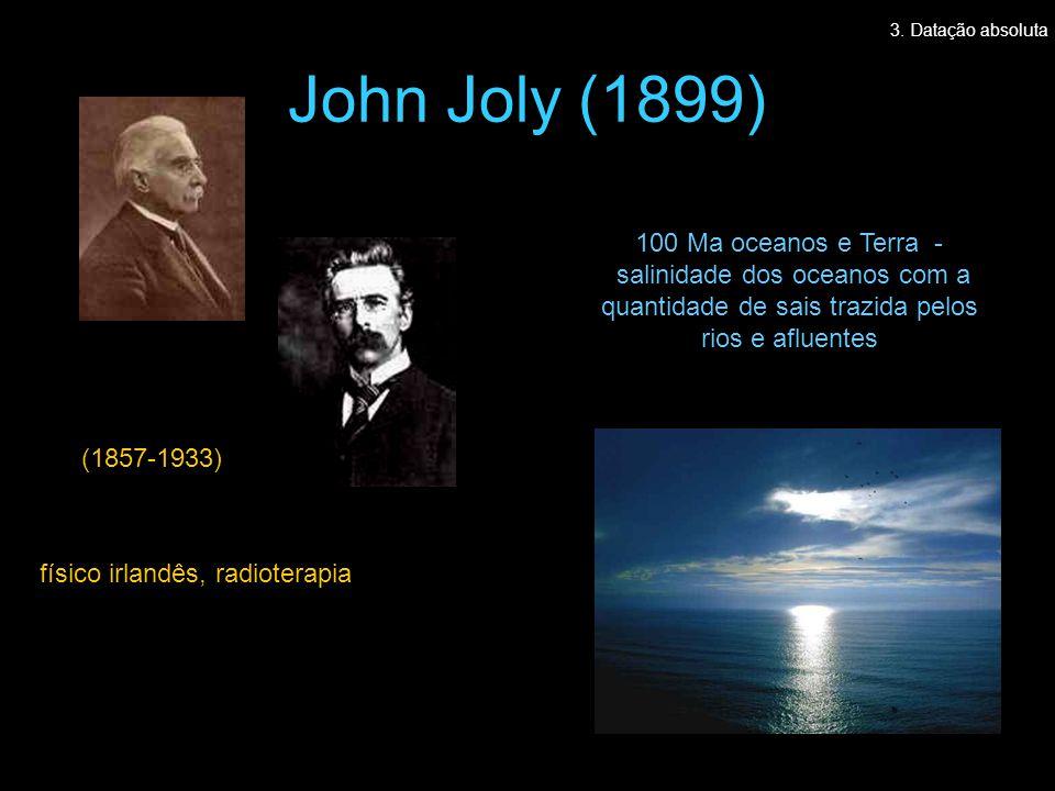 John Joly (1899) (1857-1933) 100 Ma oceanos e Terra - salinidade dos oceanos com a quantidade de sais trazida pelos rios e afluentes físico irlandês, radioterapia 3.