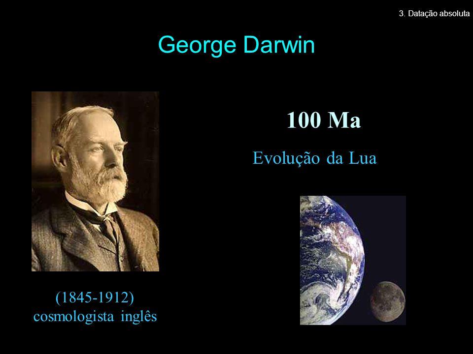 George Darwin Evolução da Lua 100 Ma (1845-1912) cosmologista inglês 3. Datação absoluta