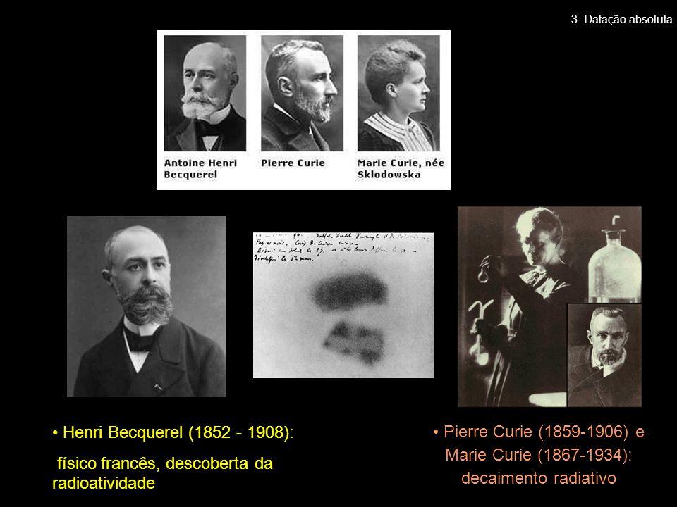 • Henri Becquerel (1852 - 1908): físico francês, descoberta da radioatividade • Pierre Curie (1859-1906) e Marie Curie (1867-1934): decaimento radiati