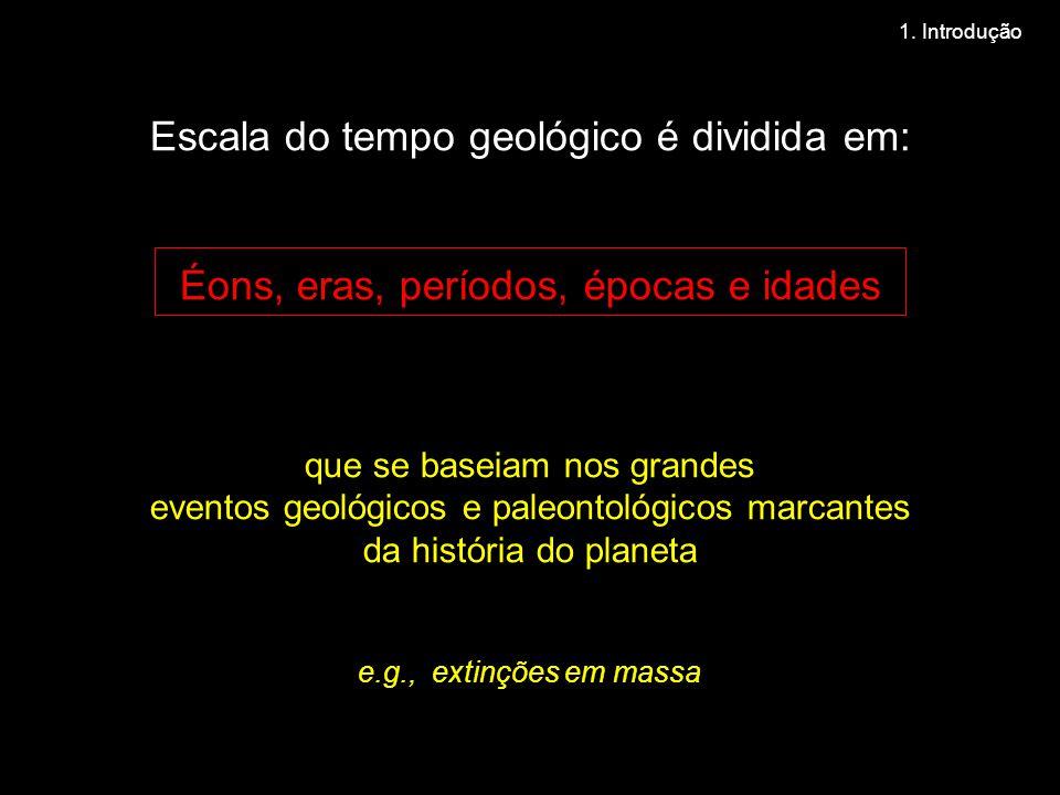 Escala do tempo geológico é dividida em: Éons, eras, períodos, épocas e idades que se baseiam nos grandes eventos geológicos e paleontológicos marcantes da história do planeta e.g., extinções em massa 1.