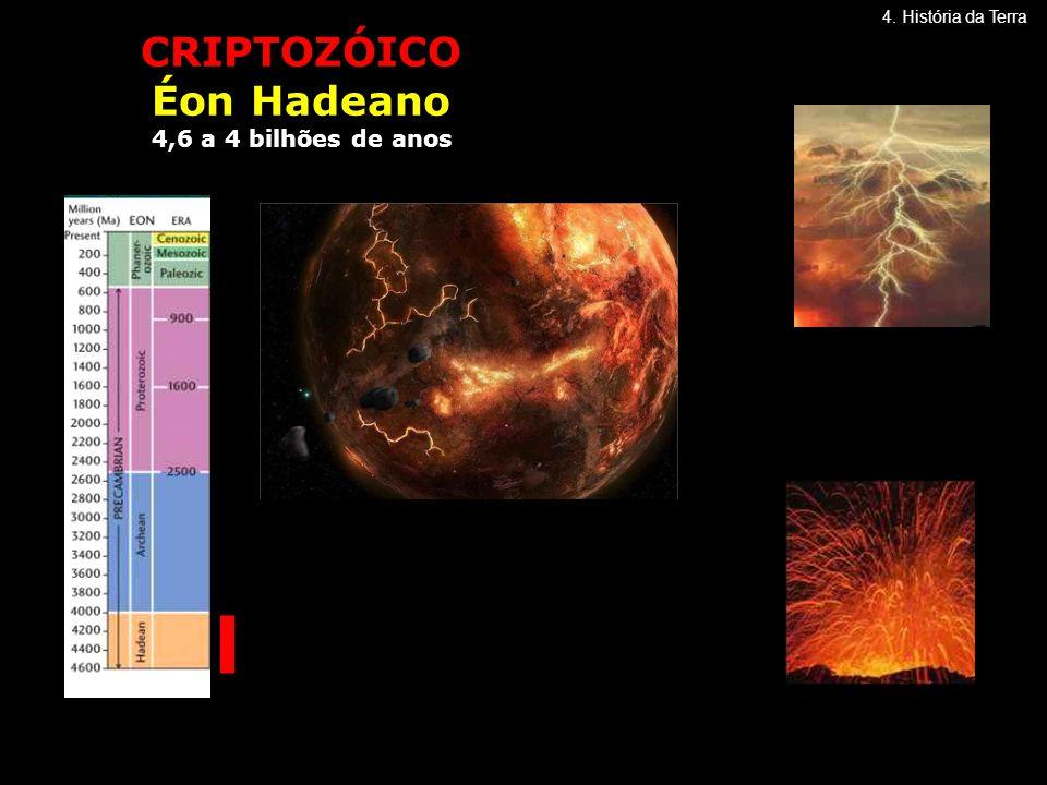 CRIPTOZÓICO Éon Hadeano 4,6 a 4 bilhões de anos 4. História da Terra