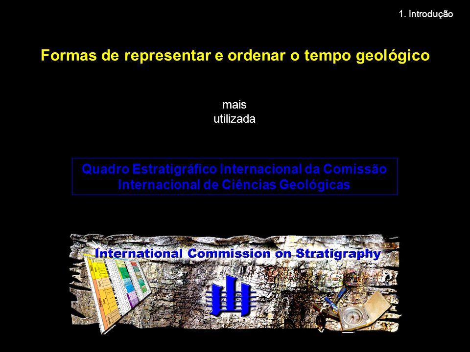 Formas de representar e ordenar o tempo geológico mais utilizada Quadro Estratigráfico Internacional da Comissão Internacional de Ciências Geológicas 1.