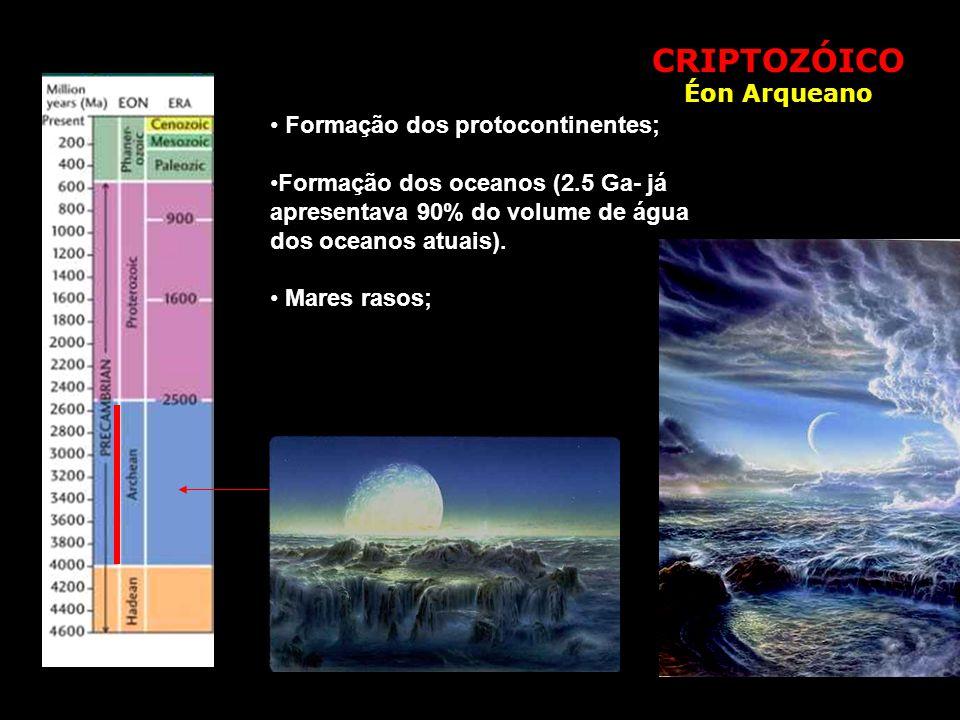 CRIPTOZÓICO Éon Arqueano • Formação dos protocontinentes; •Formação dos oceanos (2.5 Ga- já apresentava 90% do volume de água dos oceanos atuais). • M