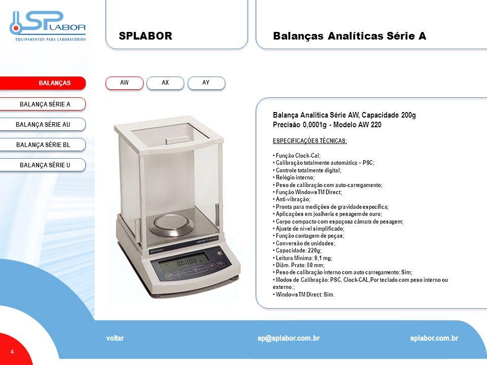 SPLABOR BALANÇAS 4 Balanças Analíticas Série A splabor.com.br sp@splabor.com.br voltar Balança Analítica Série AW, Capacidade 200g Precisão 0,0001g -