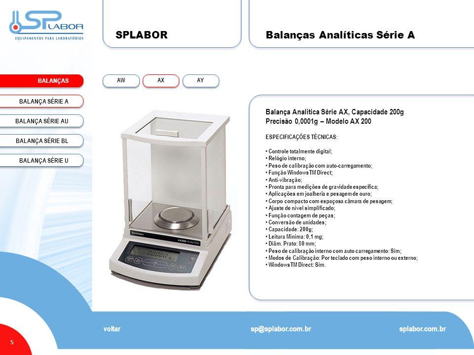 SPLABOR BALANÇAS 5 Balanças Analíticas Série A splabor.com.br sp@splabor.com.br voltar Balança Analítica Série AX, Capacidade 200g Precisão 0,0001g –