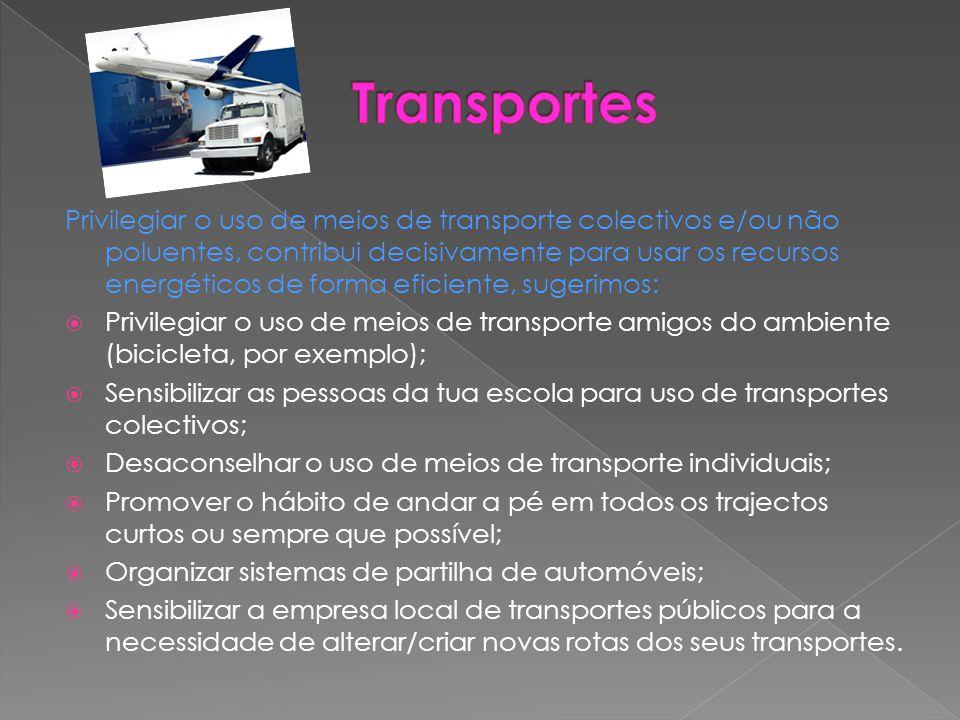 Privilegiar o uso de meios de transporte colectivos e/ou não poluentes, contribui decisivamente para usar os recursos energéticos de forma eficiente,