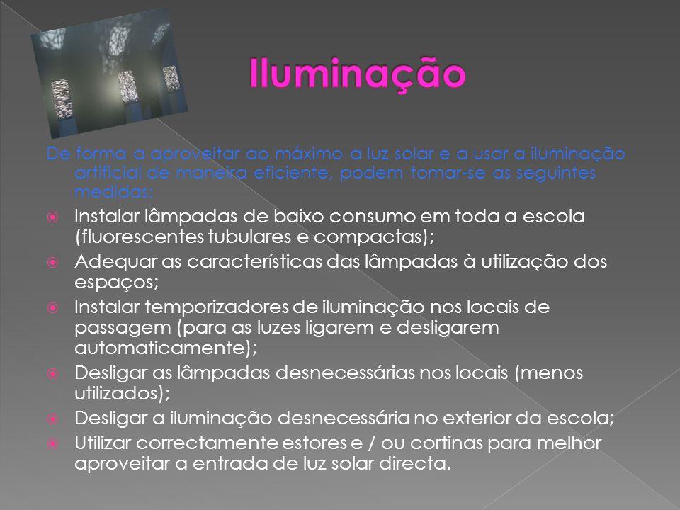 De forma a aproveitar ao máximo a luz solar e a usar a iluminação artificial de maneira eficiente, podem tomar-se as seguintes medidas:  Instalar lâm
