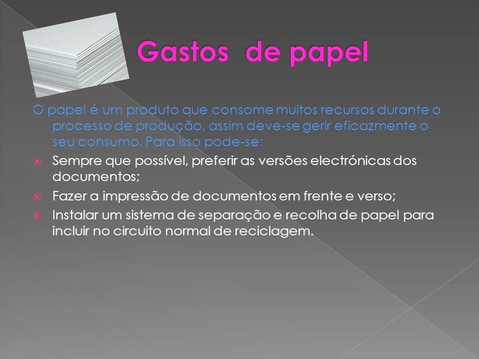 O papel é um produto que consome muitos recursos durante o processo de produção, assim deve-se gerir eficazmente o seu consumo. Para isso pode-se:  S